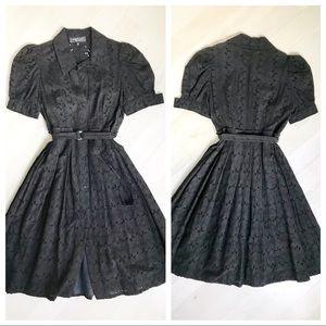 ⬇️🎉HP🎉ABS Fit & Flare Black Eyelet Dress wSlip 4